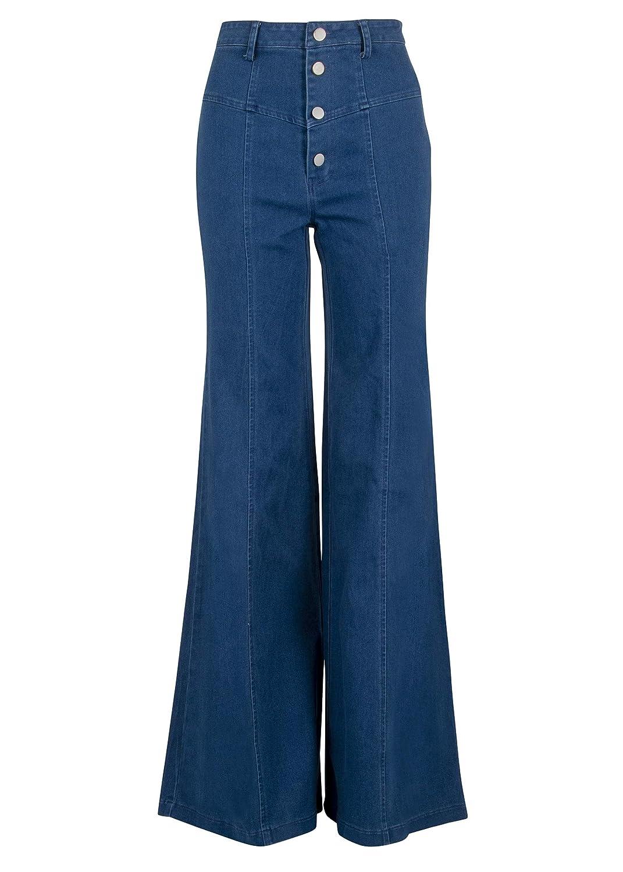 Vintage Dresses Australia- 20s, 30s, 40s, 50s, 60s, 70s Glam and Gloria Womens Seventies Retro High Waist Jeans Denim Flare Bell Bottom Pants AUD 98.71 AT vintagedancer.com