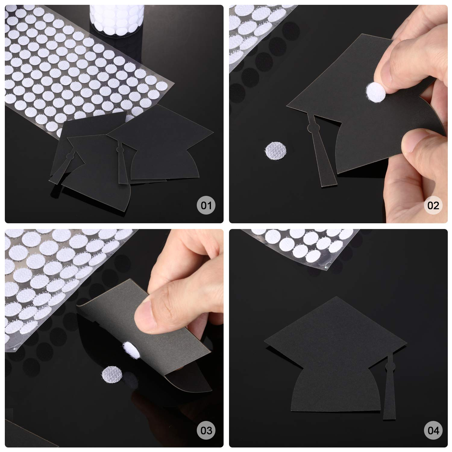 1200 Pieces 3//8 Inch White Sticky Coins Dots Tapes Self-Adhesive Hook and Loop Coins Round Dots