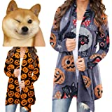 Womens Halloween Pumpkin Cat Bat Cardigan Long Sleeve Open Front Sweatshirt Cute Funny Coat Plus Size.S-5XL