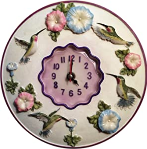 "Hummingbird Clock, 8"" Round, 3D Polystone- Hummingbird Wall Decor For Kitchen, Nursery, Bedroom, Patio, Bathroom, Office Hummingbird Decoration - Best Hummingbird Gift Idea, Hummingbird Decoration."