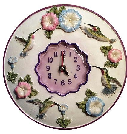 Delicieux Hummingbird Clock, 8u201d Round, 3D Polystone  Hummingbird Wall Decor For  Kitchen,