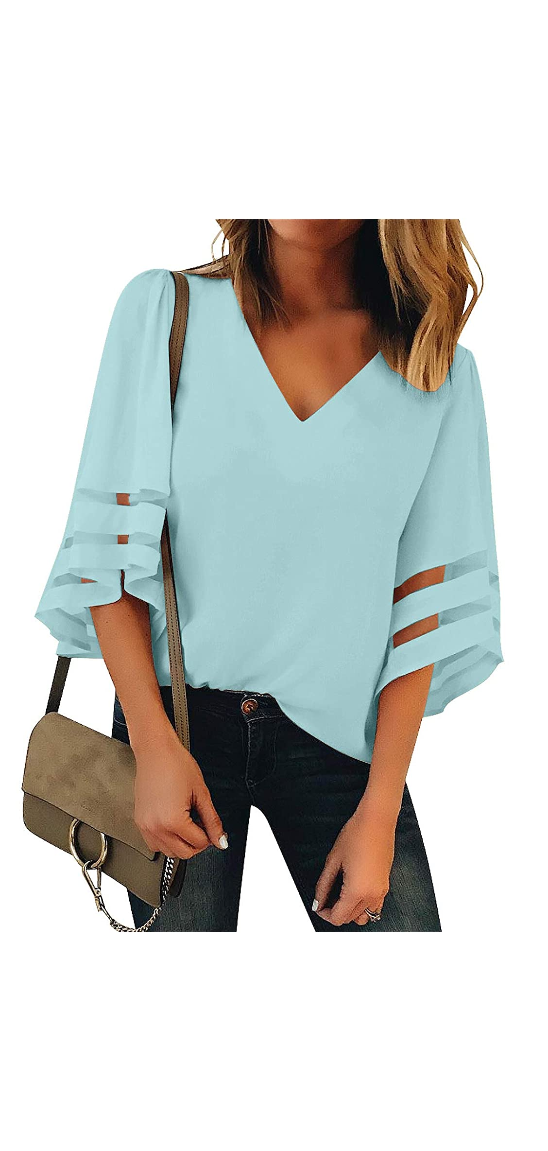 Women's V Neck Mesh Panel Blouse / Bell Sleeve