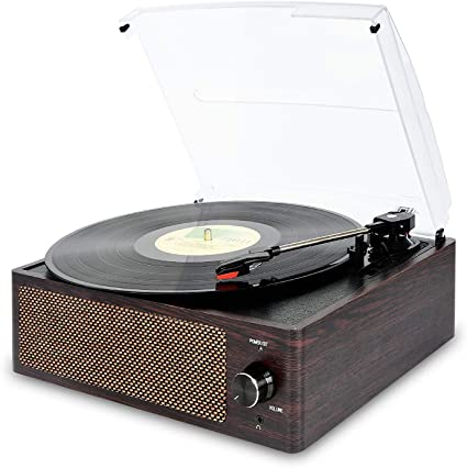 Bluetooth Record Player Belt-Driven 3-Speed Turntable, Vintage Vinyl Record Players Built-in Stereo Speakers, with Headphone Jack/ Aux Input/ RCA Line ...