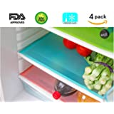"4 Pack Refrigerator Mats, HityTech EVA Refrigerator Liners Washable Can Be Cut Refrigerator Pads Fridge Mats Drawer Table Placemats/Size 17.7"" x 11.8"" - Random Colors"