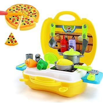Perfekt LIVEHITOP 26 PCS Spielzeug Küche Set Für Kinder, Klein Küchen Koffer  Zubehör Geräte Küchenspielzeug Pizza