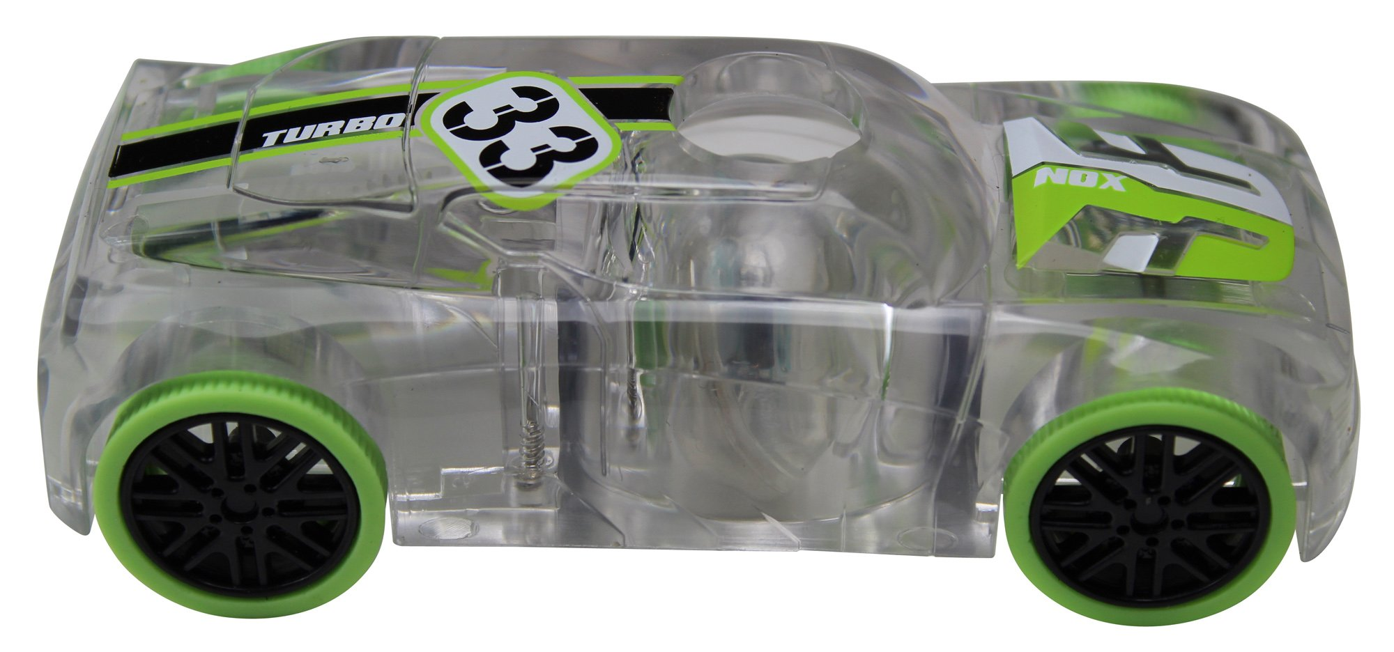 Award Winning Marble Racers Light Up 1:43 Scale Race Car with Quick Shot Pull-Back Motor with Green Wheels