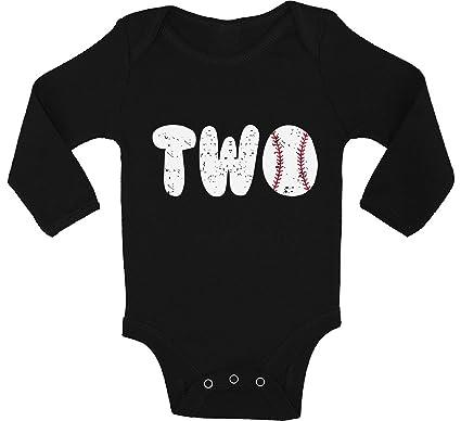 Awkward Styles Baby Baseball Birthday Boy Girl Long Sleeve Bodysuits Tops 2nd Tee Black