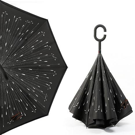 Guoke Reverse Umbrella Sombrilla Sin Paraguas De Doble Capa Creative Stand-Up Sombrilla Para Coche