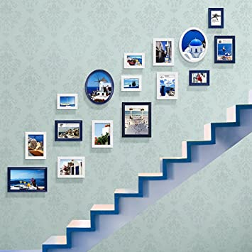 SI YU DWW Photo Frame Collage Painted European Staircase Photo Wall  Creative Wood Combination Photo