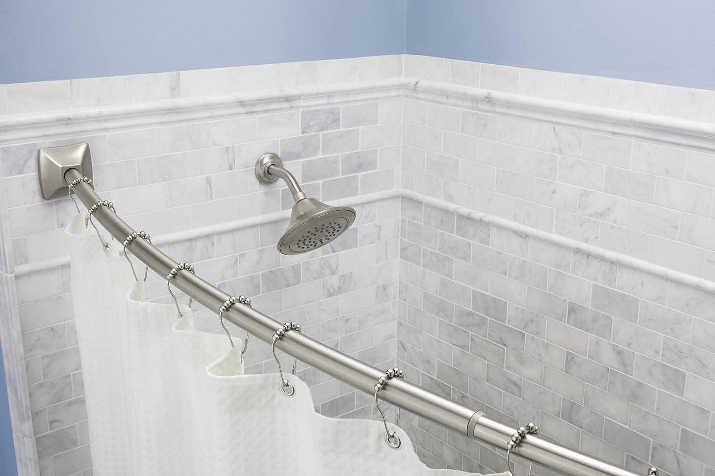 Amazon.com: Moen CSR2164BN Adjustable Curved Shower Rod, Brushed ...