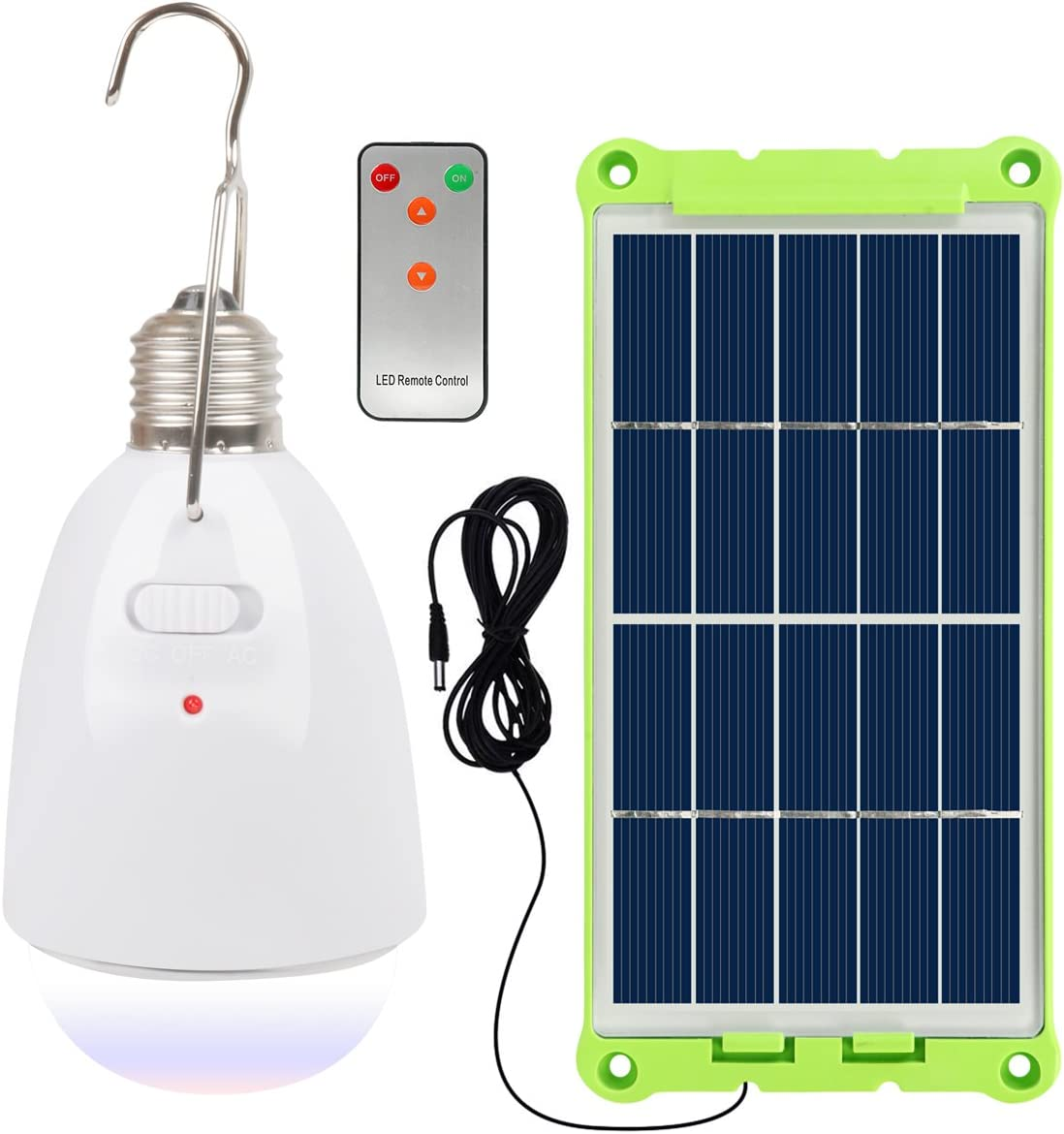 NING ZE XIN Solar Light Bulb with Solar Panel Multi-Functional Waterproof Rechargeable Remote Control Dimmable Hanging Lamp Tent Light Protable Lighting for Home, Camping, Power Outage, Emergency