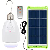NING ZE XIN Solar Light Bulb with Solar Panel Multi-Functional Waterproof Rechargeable Remote Control Dimmable Hanging…