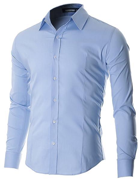FLATSEVEN de Hombre Casual botón Abajo Camisa: Amazon.es ...