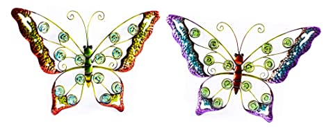 Osw Metal Butterfly Wall Art Sculptured Outdoor Decor For Patio Or Fence Set Of 2