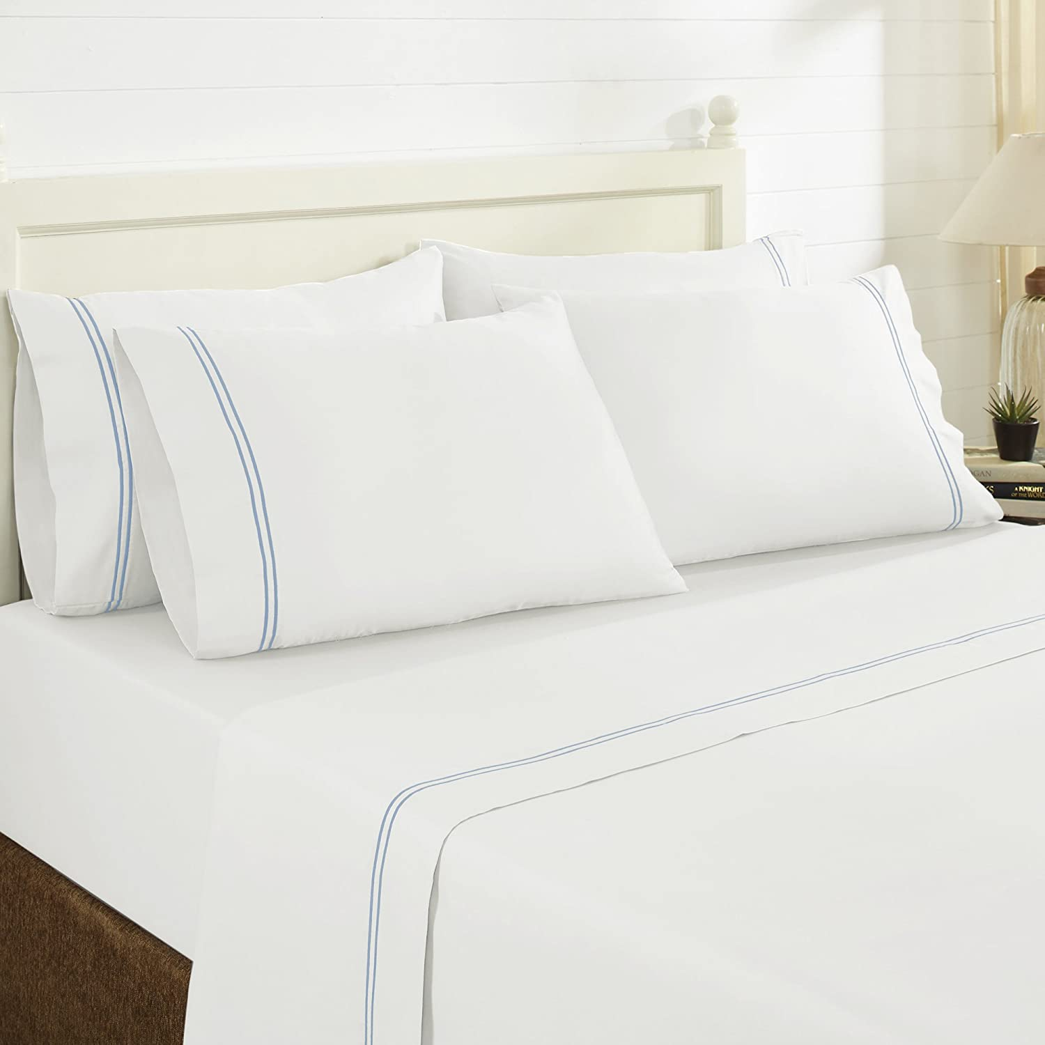 Silver, King Amrapur Overseas Ultra-Soft 1500 Thread Count 4-Piece Cotton Rich Solid Bed Sheet Set with Single Hem Stitch