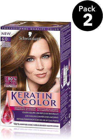 Keratin Color de Schwarzkopf - Tono 6.0 Rubio Oscuro - 2 uds - Coloración permanente