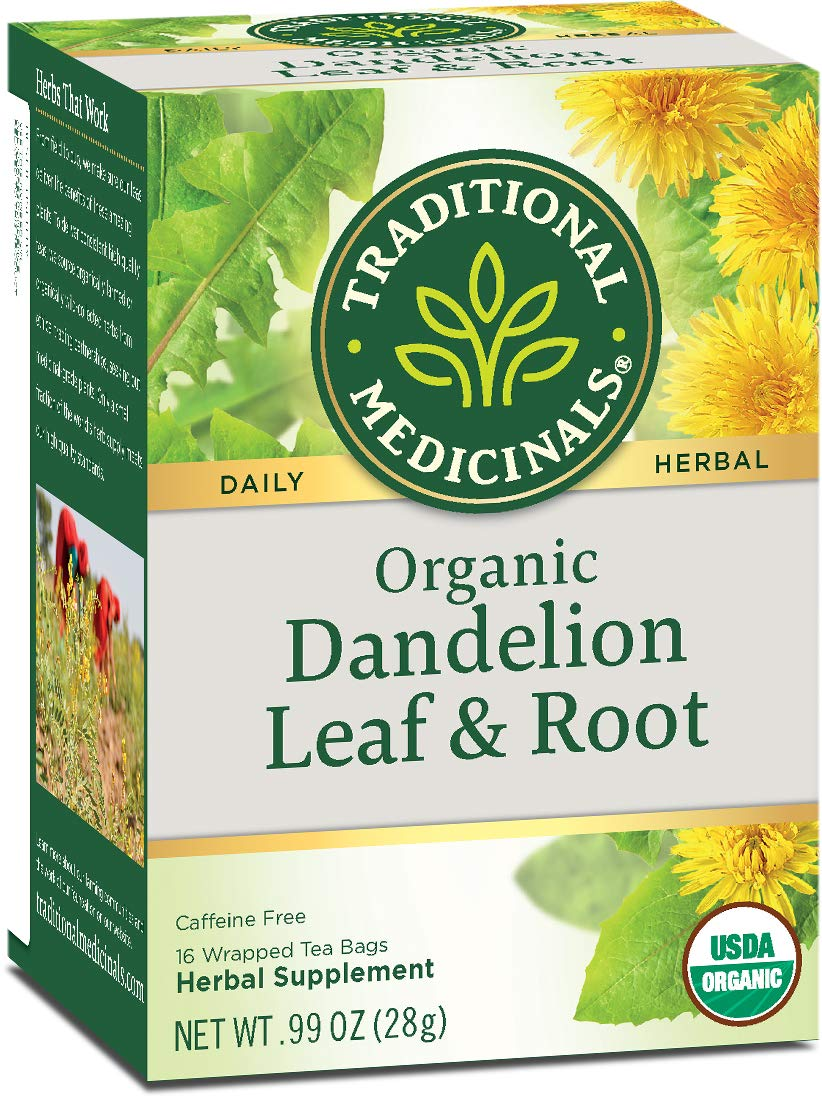 Traditional Medicinals Organic Dandelion Leaf & Root Herbal Tea (Pack of 1), Supports Kidney Function and Healthy Digestion, 16 Tea Bags Total