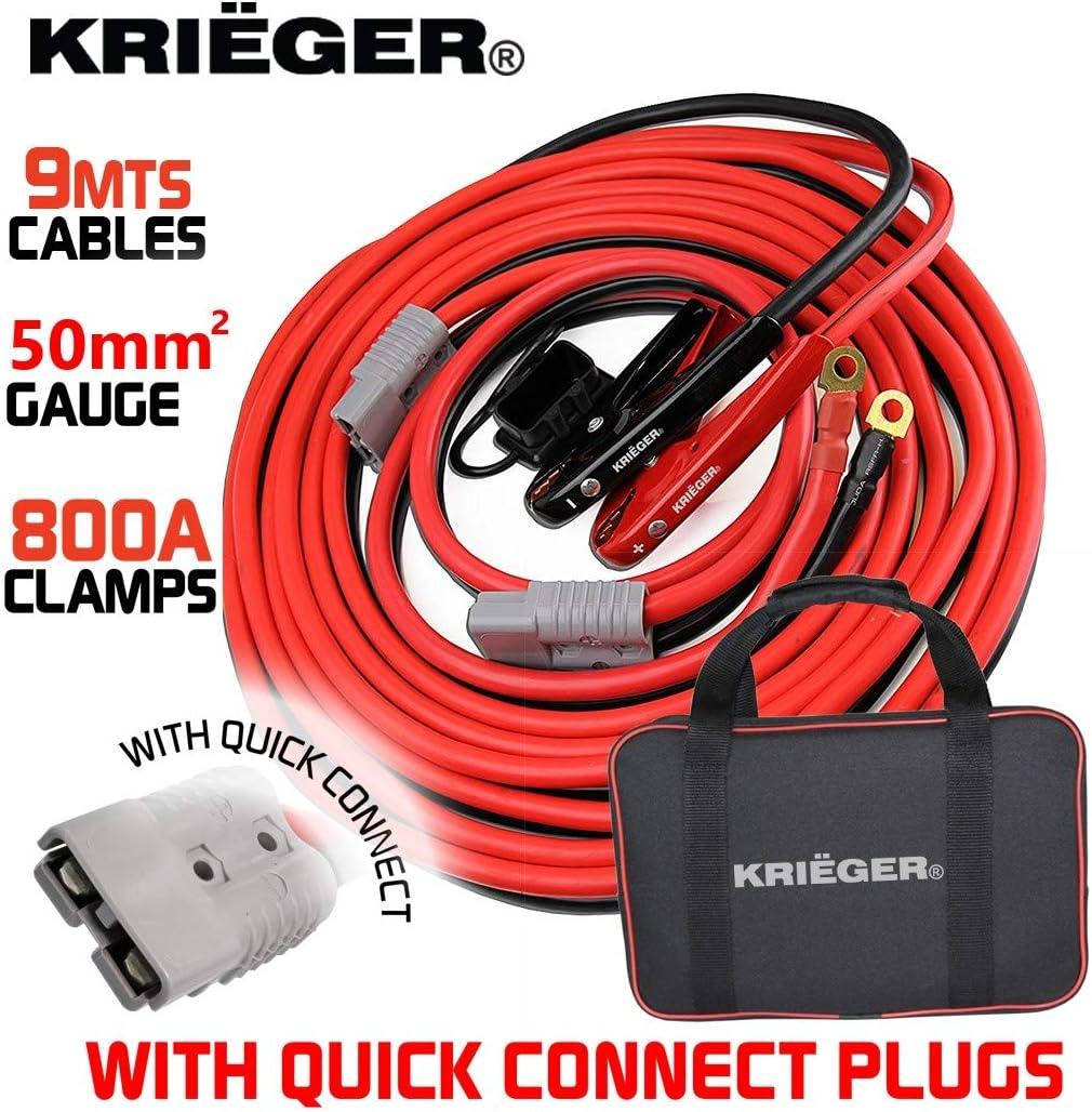 Cables de Arranque Krieger 9 Metros 50mm² Pinzas 800Amp, Kit de Instalación Permanente a la Bateria con Enchufe de Conexión Rápida – 9M Permite Arrancar Baterias desde la Parte Posterior del Automovil