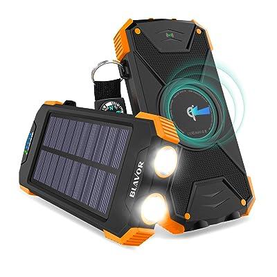 【18日まで】BLAVOR 最新版ソーラーチャージャー ワイヤレス充電対応10000mAhモバイルバッテリー コンパス・LEDランプが付き PN-W05 送料込1,848円