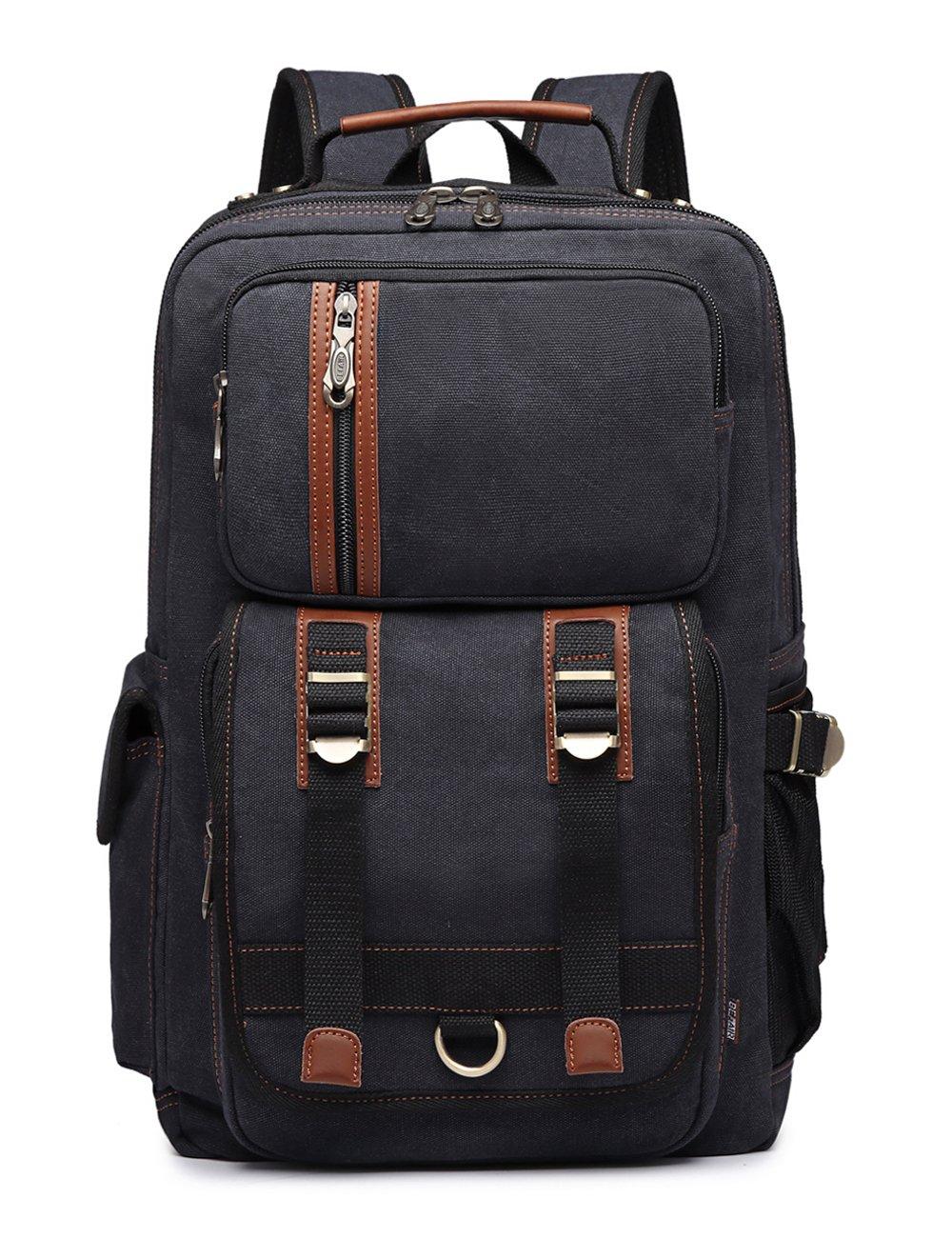 BEFAiR Canvas Backpack Vintage College Daypack Mens Laptop Backpack School Bookbag for Women Black