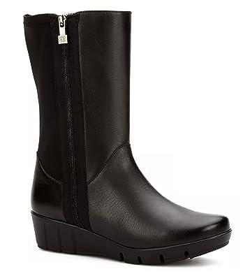 Comfort Boot Women's Leather Sheepskin & Elastic Medium High Boot Anatomic Flexible Outsole
