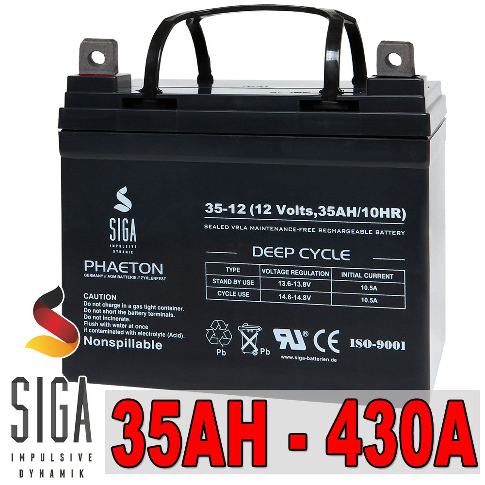 Akku 35Ah AGM GEL Batterie Rasentraktor Aufsitzmäher +Pol links Fleurelle MTD Partner John Deere Agroma