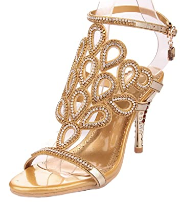 Littleboutique Gorgeous High Quality Crystal Sandals Rosette Cutout Rhinestone Studs Evening Sandal Party Dress Sandal Heel