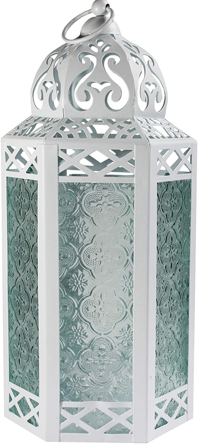 Vela Lanterns Moroccan Style Candle Lantern with LED Fairy Lights, Large, Clear Glass, White