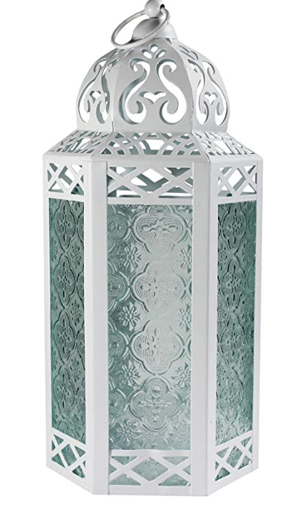 MOROCCAN MINI IRON PLAIN TONAL GLASS LANTERN TEA LIGHT HOLDER HOME /& GARDEN NEW