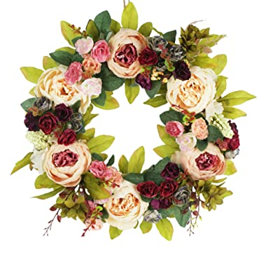 Delicaft Peony Flowers Silk Front Door artificial Wreath 16 Inch -Handcrafted on a Grapevine Wreath Base- Display in Spring, Easter, and Summer