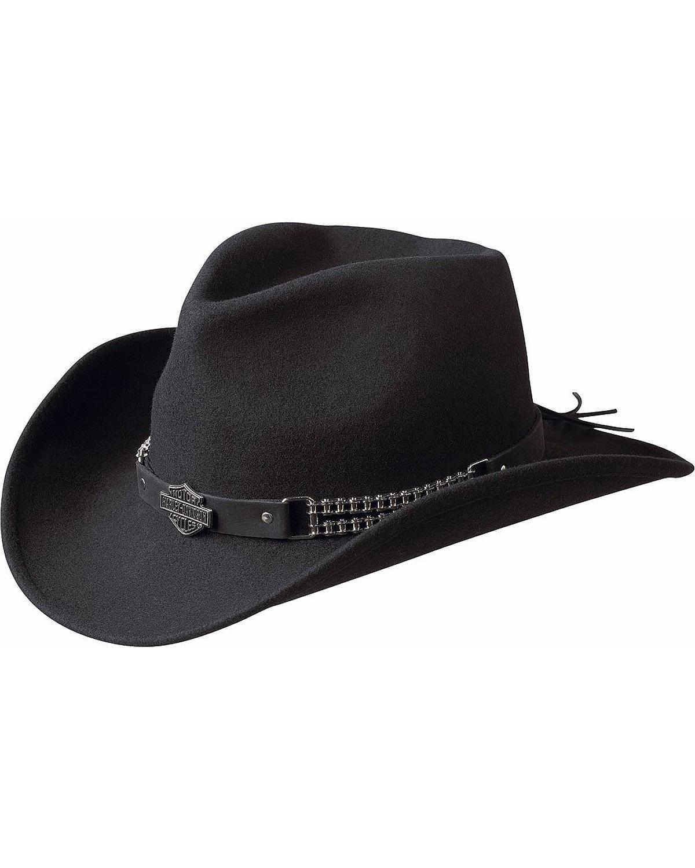 Harley Davidson Men's Chain Band Bend-A-Brim Wool Felt Crushable Cowboy Hat Black Large by Harley Davidson