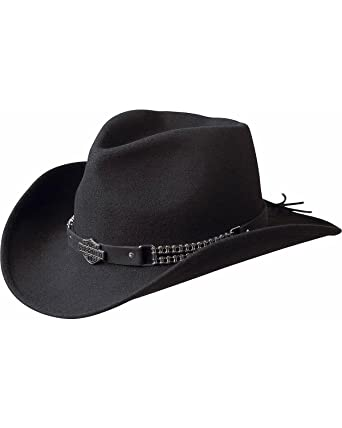 202279aa9a0ec8 Harley-Davidson Men's Chain Band Bend-A-Brim Wool Felt Crushable Cowboy Hat  - Hd-93 at Amazon Men's Clothing store: