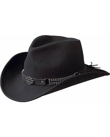 Harley-Davidson Men s Chain Band Bend-A-Brim Wool Felt Crushable Cowboy Hat c3536adef3b0