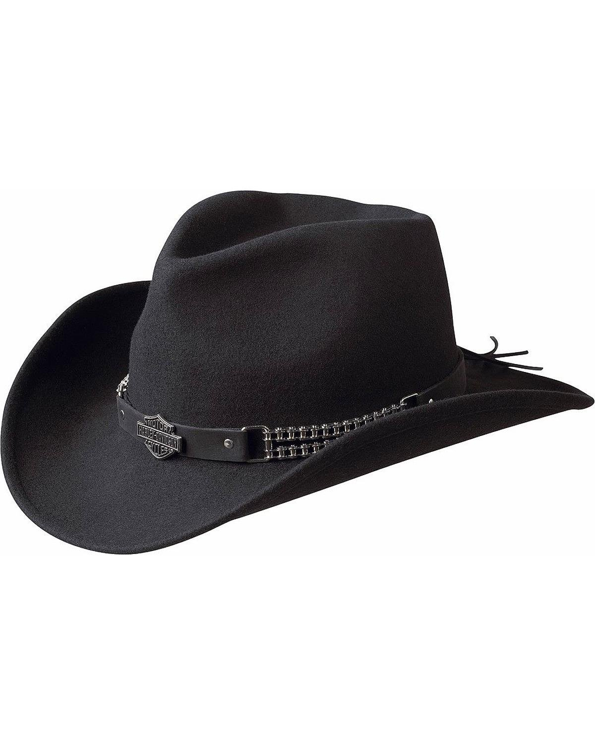 Harley-Davidson Men's Chain Band Bend-A-Brim Wool Felt Crushable Cowboy Hat Black Small