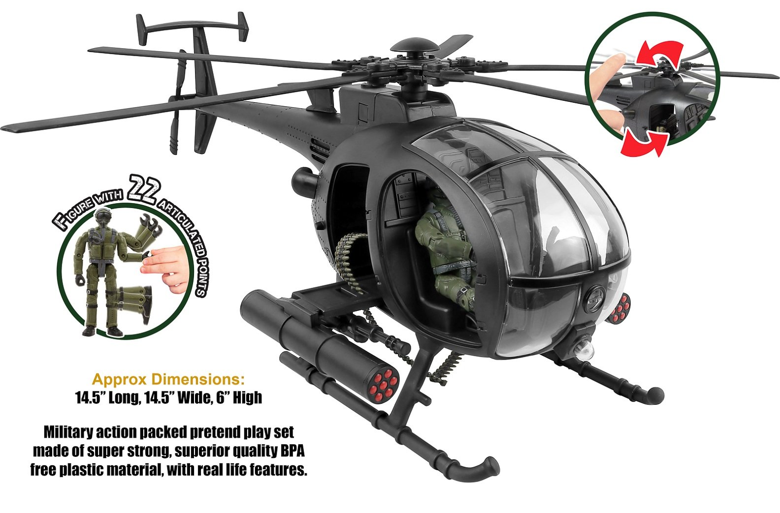Click N' Play Military Attack Combat Helicopter 20 Piece Play Set With Accessories. by Click N'' Play (Image #2)