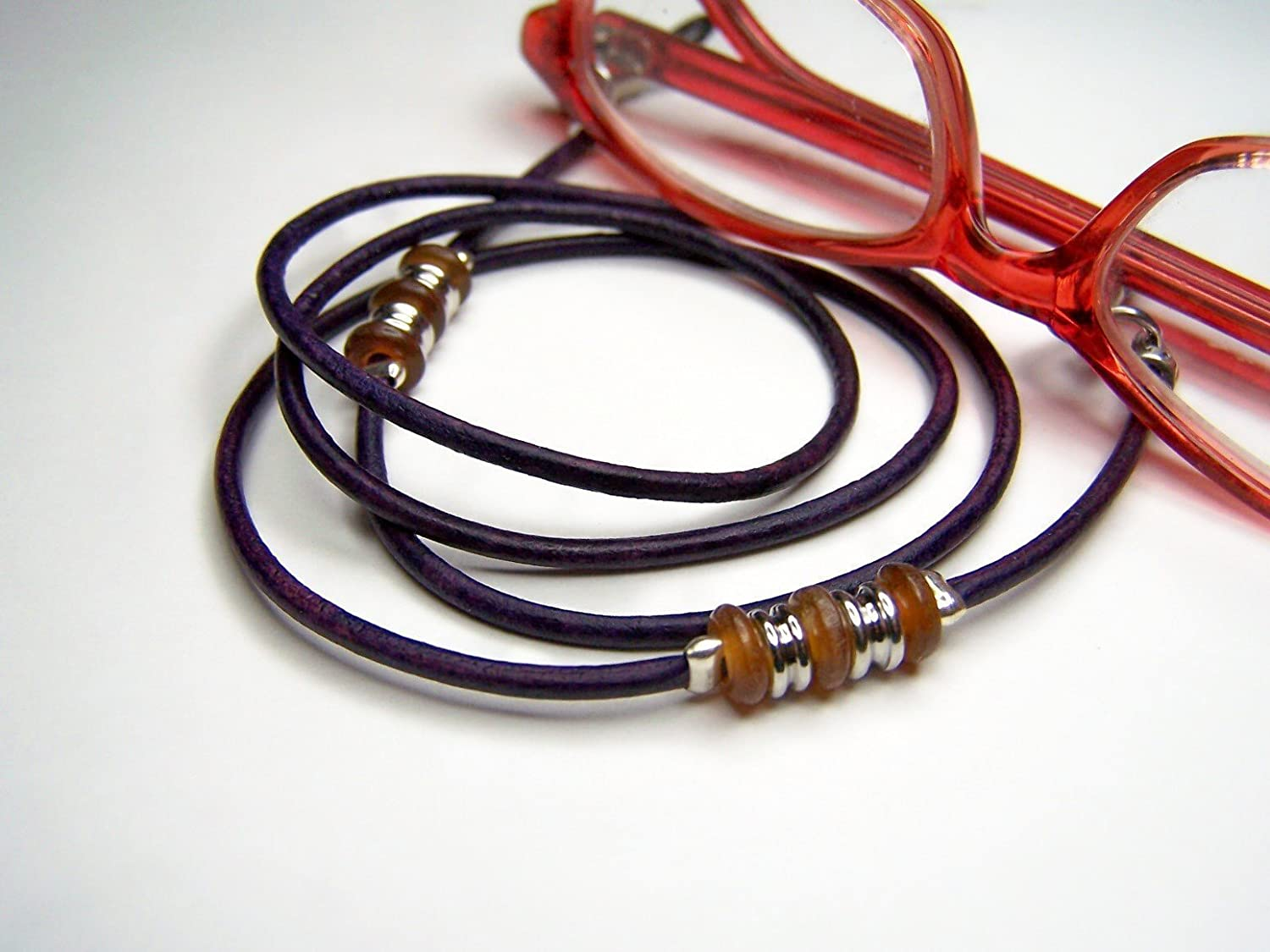 Custom Purple Leather Eyeglass Cord, With Horn Beads, Lengths From 24 - 34