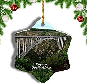"Weekino South Africa Garden Route Knysna Christmas Ornament Travel Souvenir Tree Hanging Pendant Decoration Porcelain 3"" Double Sided"
