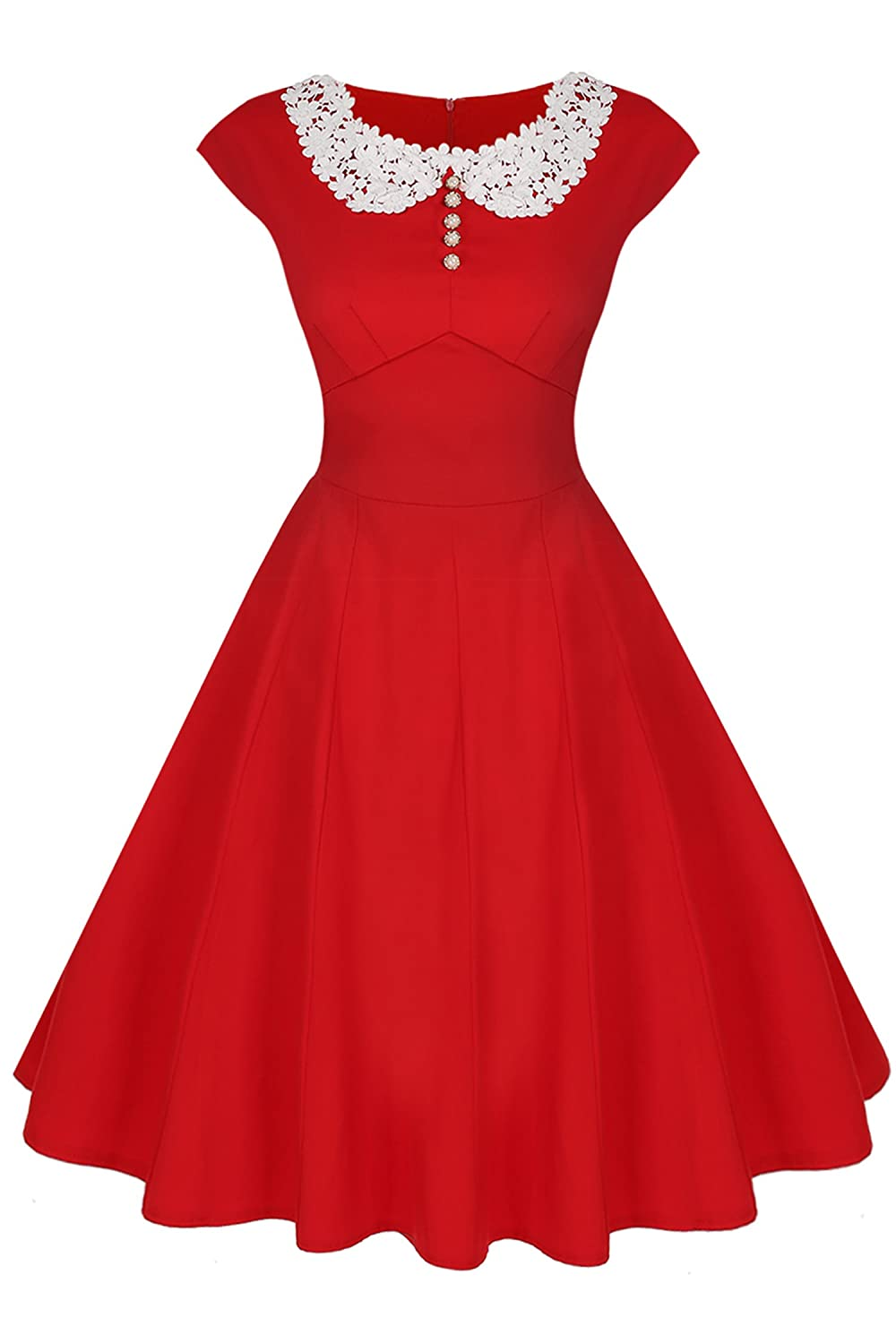 Vintage Tea Dresses, Floral Tea Dresses, Tea Length Dresses ACEVOG Womens Classy Vintage Audrey Hepburn Style 1940s Rockabilly Evening Dress $19.99 AT vintagedancer.com