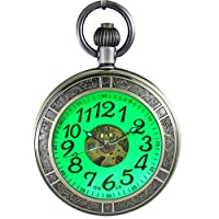 Waterproof Magnifier Skeleton Chain Silver Luminous Fob Self Winding Automatic Mechanical Pocket Watch