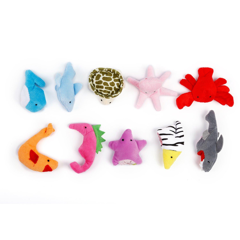 Oiuros 20pcs Different Cartoon Animal Finger Puppets Soft Velvet Dolls Props Toys by Oiuros (Image #2)