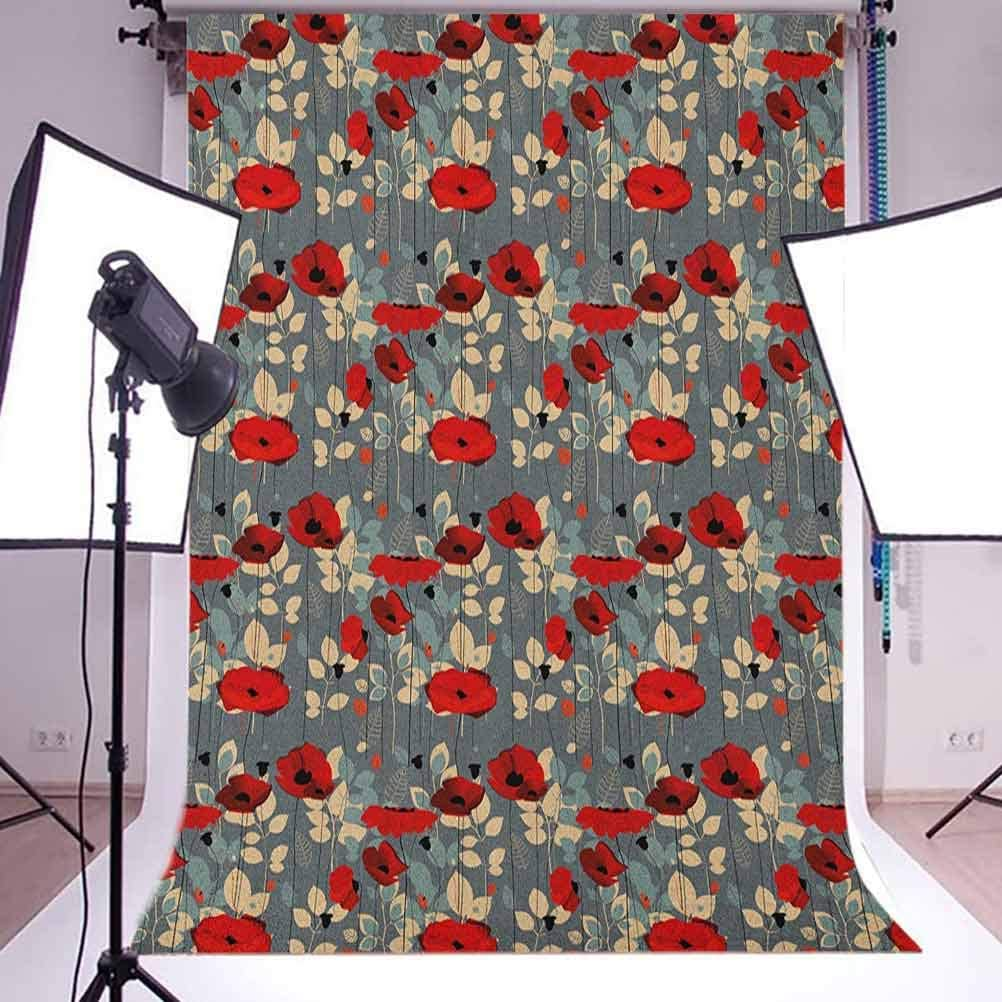 8x12 FT Poppy Vinyl Photography Backdrop,Abstraction of a Growing Floral Garden Leaves Botanical Modern Nature Display Background for Baby Birthday Party Wedding Graduation Home Decoration