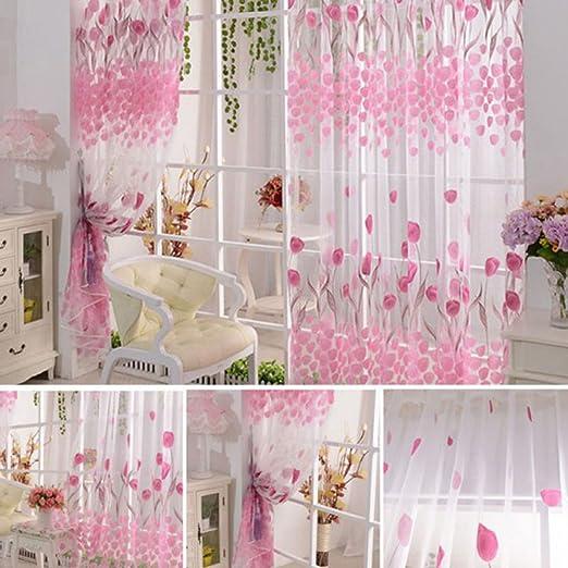 Purple Voile Floral Valances Door Room Window Curtains Tulle Sheer Drape Panel Scarfs