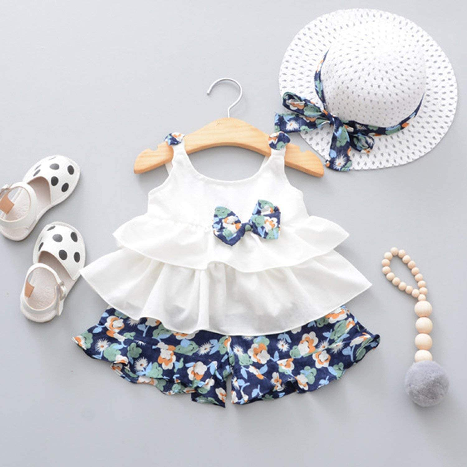 Floral Shorts Baby Boy Clothes Body Suit Baby Girl Clothes Strap Bow Vest Fashion