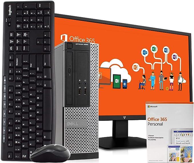 "Dell 3020 PC Desktop Computer, Intel i5, 8GB RAM 500GB HDD, Windows 10 Pro, Microsoft Office 365 Personal, New 23.6"" FHD V7 LED Monitor, New 16GB Flash Drive, Wireless Keyboard & Mouse, WiFi (Renewed)   Amazon"