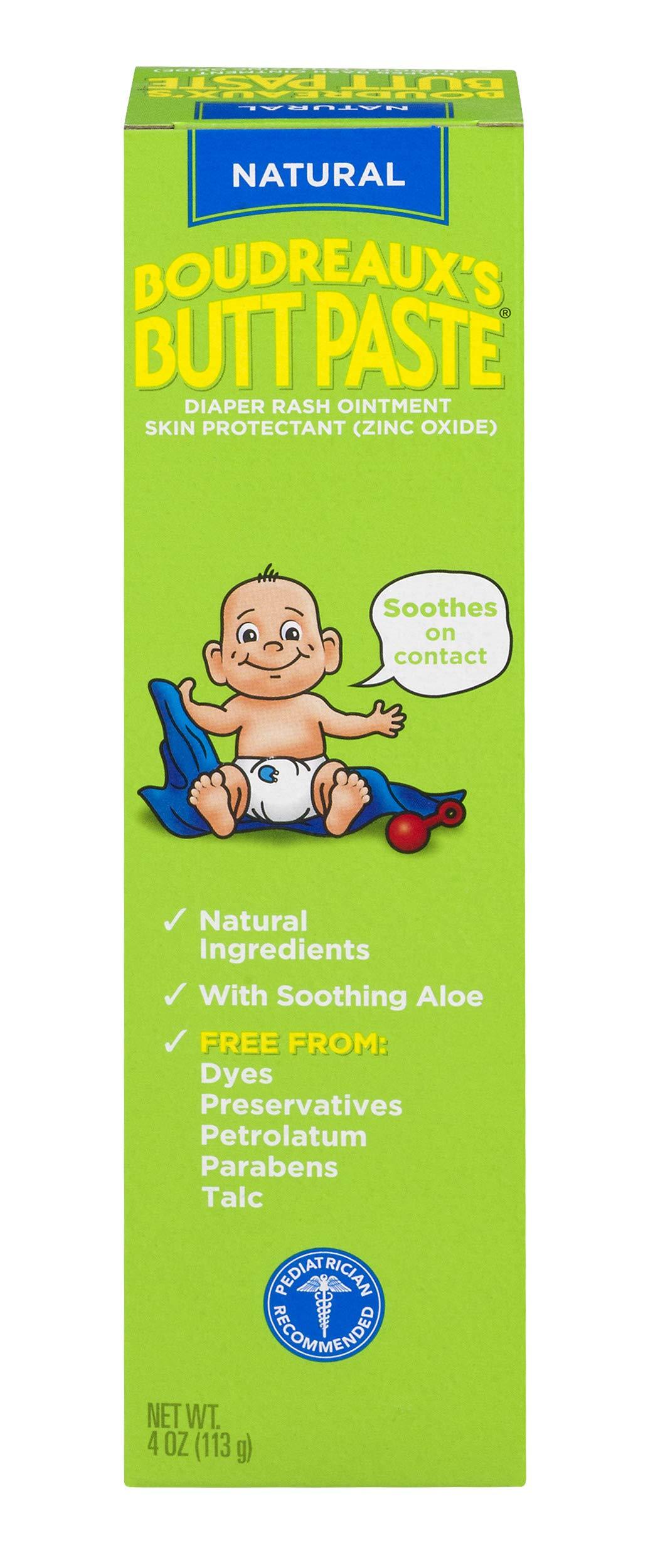 Boudreaux's Butt Paste Diaper Rash Ointment | With Natural Aloe | 4 Oz