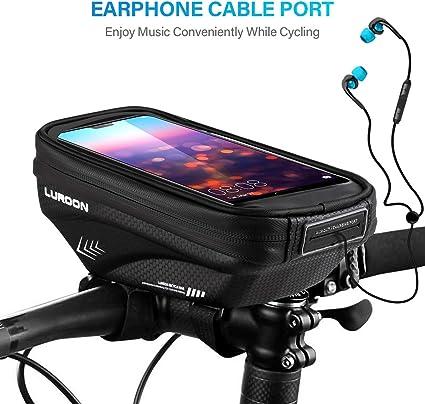 ICOCOPRO Fahrrad Rahmentasche Wasserdicht Fahrradtasche Lenkertasche TPU-Touchscreen Fahrrad Handyhalterung Handytasche mit Sonnenblende Kopfh/örerloch f/ür Smartphone bis 6,5 Zoll