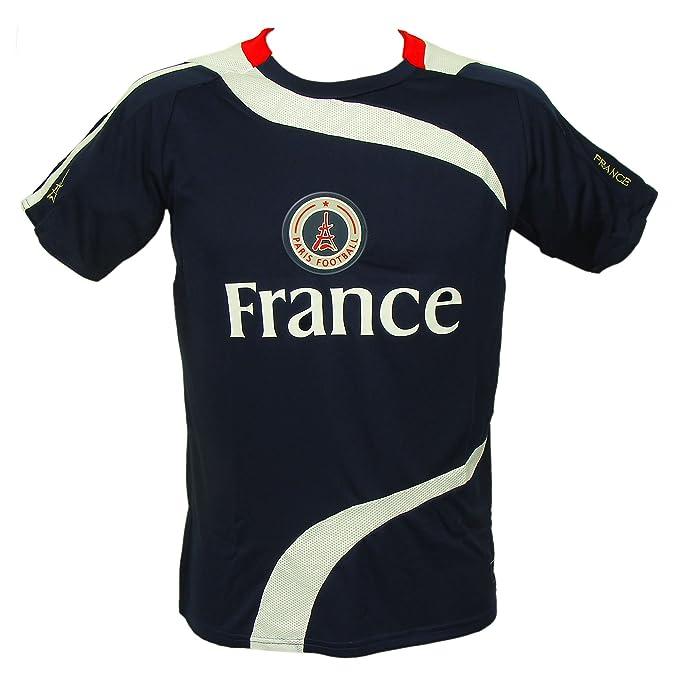 Recuerdos de Francia – Paris Camiseta de fútbol para Hombre – Azul, Manga Corta,