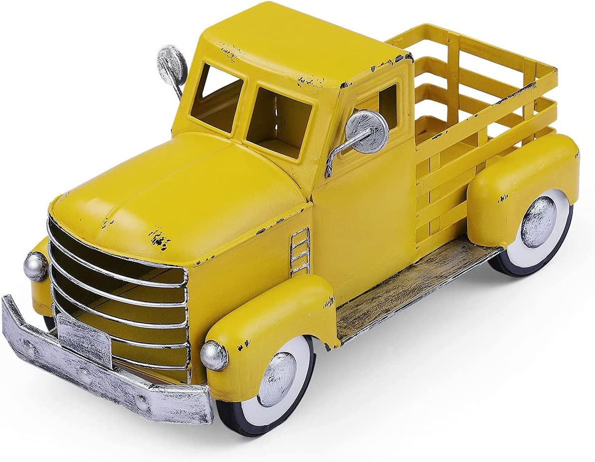 Yellow Truck Decor, Vintage Metal Truck Planter, Farmhouse Pick-up Truck Spring Decorations & Decorative Tabletop Storage (Small Size)