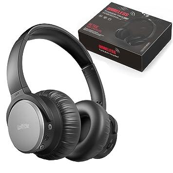 Auriculares Loffitle inalámbricos plegables auriculares cancelación de ruido y control de volumen ajustable diadema cómoda con micrófono para PC ordenador ...