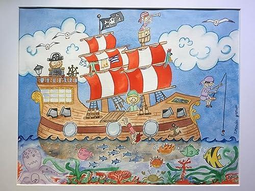 Barco pirata, alegre acuarela para habitación niño bebe ...
